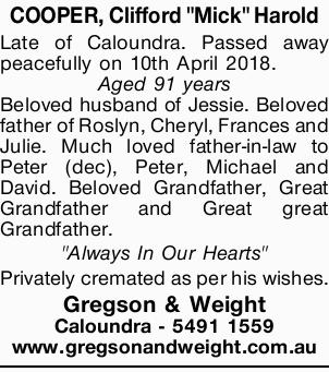 """COOPER, Clifford """"Mick"""" Harold    Late of Caloundra. Passed away peacefully on 10th..."""