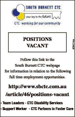 6794714aa POSITIONS VACANT Follow this link to the South Burnett CTC webpage for information in rela...