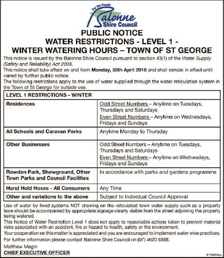 <p> PUBLIC NOTICE WATER RESTRICTIONS - LEVEL 1 - WINTER WATERING HOURS – TOWN OF ST GEORGE This...