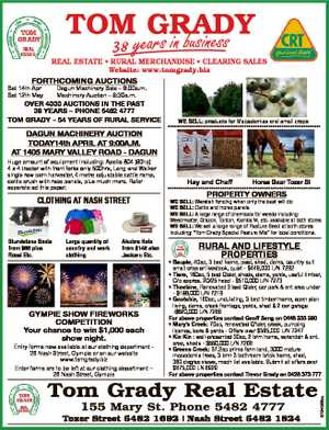 38 REAL ESTATE * RURAL MERCHANDISE * CLEARING SALES Website: www.tomgrady.biz FORTHCOMING AUCTIONS...