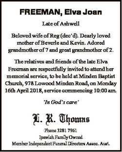FREEMAN, Elva Joan Late of Ashwell Beloved wife of Reg (dec'd). Dearly loved mother of Beverle a...
