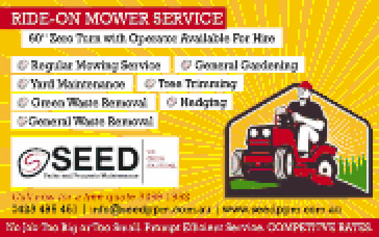 """SEED PARKS AND PROPERTY MAINENANCE   60"""" Zero Turn with Operator Available For Hire  ..."""