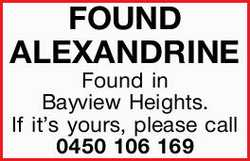 FOUND ALEXANDRINE 