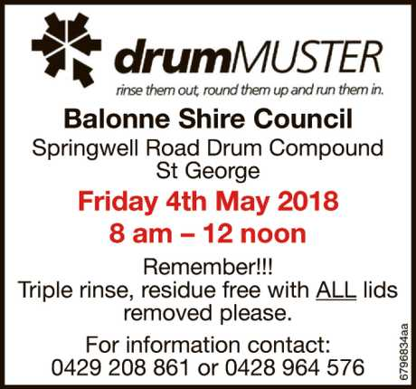 <p> Balonne Shire Council Springwell Road Drum Compound St George Friday 2nd February 2018 8 am...