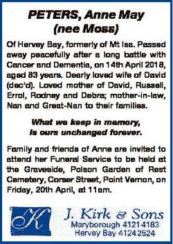 PETERS, Anne May (nee Moss) Of Hervey Bay, formerly of Mt Isa. Passed away peacefully after a long b...