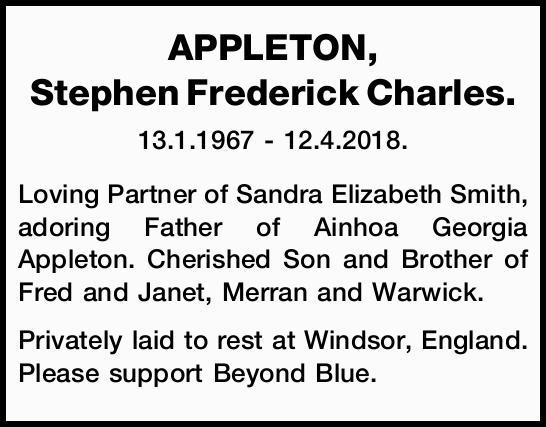13.1.1967 - 12.4.2018.   Loving Partner of Sandra Elizabeth Smith, adoring Father of Ainhoa G...