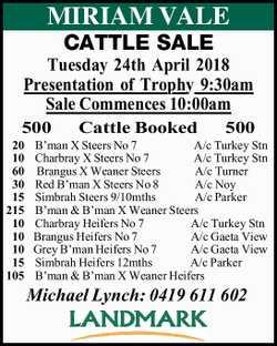 MIRIAM VALE CATTLE SALE Tuesday 24th April 2018 Presentation of Trophy 9:30am Sale Commences 10:0...