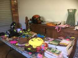 Garage Sale.  Bikes, books, games, furniture, quality clothes, storage, sports gear, plants.