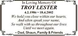 In Loving Memory Of TROY LESTER 4.2.1986  18.4.2002 We hold you close within our hearts, And often s...