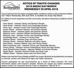 NOTICE OF TRAFFIC CHANGES 2018 ANZAC DAY MARCH WEDNESDAY 25 APRIL 2018 Council advises that the b...