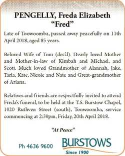 "PENGELLY, Freda Elizabeth ""Fred"" Late of Toowoomba, passed away peacefully on 11th April 2..."