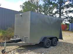 CARGO TRAILER Dual axle, 240V wired, rear lockable ramp door 3.5m x 1.8 exc cond perfect for trad...