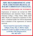 MPC REFURBISHMENT AND NEW AMENITIES BLOCK AT DALBY CHRISTIAN COLLEGE. TENDER EXPRESSION OF INTEREST