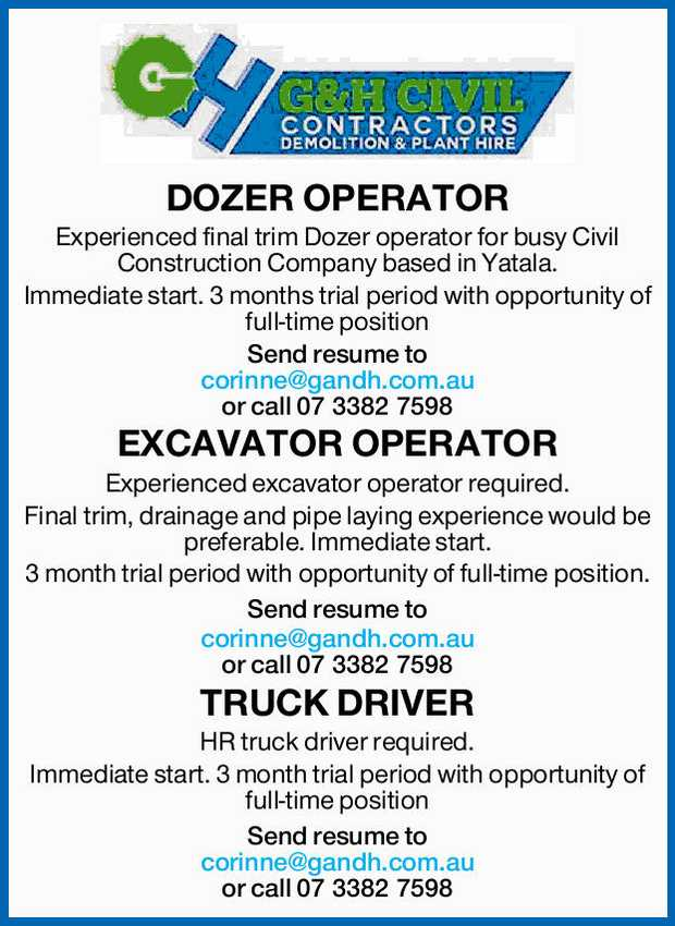 DOZER OPERATOR Experienced final trim Dozer operator for busy Civil Construction Company based in...