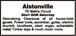 Alstonville 76 Melllis Circuit Start 8AM Saturday Downsizing Clearance of all house-hold goods. Powe...