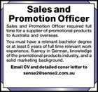 Sales and Promotion Officer