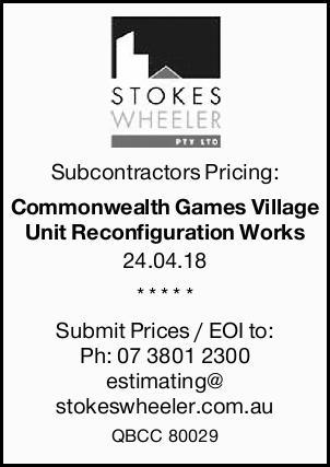 Subcontractors Pricing:   Commonwealth Games Village Unit Reconfiguration Works    24.04....