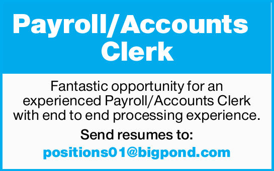 Payroll/Accounts Clerk Fantastic opportunity for an experienced Payroll/Accounts Clerk with end t...