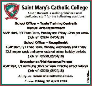 Saint Mary's Catholic College South Burnett is seeking talented and dedicated staff for the...