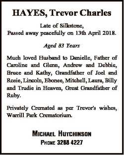 HAYES, Trevor Charles Late of Silkstone, Passed away peacefully on 13th April 2018. Aged 83 Years Mu...