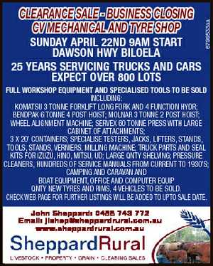 SUNDAY APRIL 22ND 9AM START DAWSON HWY BILOELA 25 YEARS SERVICING TRUCKS AND CARS EXPECT OVER 800 LOTS...