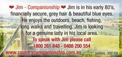 Jim - Companionship - Jim is in his early 80's, financially secure, grey hair & beautif...
