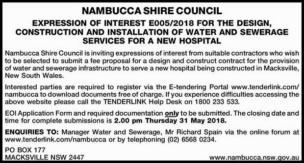 NAMBUCCA SHIRE COUNCIL EXPRESSION OF INTEREST E005/2018 FOR THE DESIGN, CONSTRUCTION AND INSTALLA...