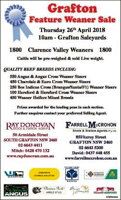 Grafton Feature Weaner Sale Thursday 26th April 2018 10am - Grafton Saleyards 1800 Clarence Valley W...