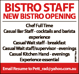 BISTRO STAFF REQUIRED