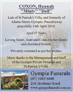 "COXON, Hannah ""Minty"" ""Doll"" Late of St Patrick's Villa, and formerly of Ada..."