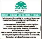 RESORT FRONT OFFICE RECEPTIONIST