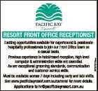 RESORT FRONT OFFICE RECEPTIONIST