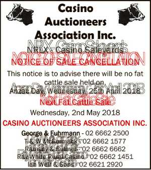 Casino Auctioneers Association Inc. NRLX - Casino Saleyards NOTICE OF SALE CANCELLATION This notice is...
