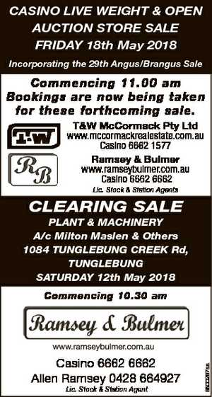 CASINO LIVE WEIGHT & OPEN AUCTION STORE SALE FRIDAY 18th May 2018 Incorporating the 29th...
