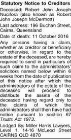Statutory Notice to Creditors