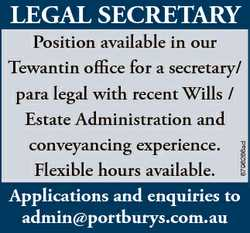 LEGAL SECRETARY 6796266ad Position available in our Tewantin office for a secretary/ para legal with...