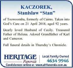 "KACZOREK, Stanislaw ""Stan"" of Toowoomba, formerly of Cairns. Taken into God's Care on..."