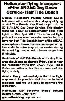 Helicopter flying in support of the ANZAC Day Dawn Service- Half Tide Beach Mackay Helicopters (Avia...