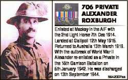 706 PRIVATE ALEXANDER ROXBURGH Enlisted at Mackay in the AIF with the 2nd Light Horse 7th Dec 1914....