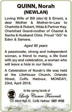 QUINN, Norah (NEWLAN) Loving Wife of Bill (dec'd) & Ernest, a dear Mother & Mother-in-La...