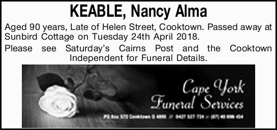 KEABLE, Nancy Alma