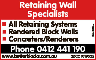 All Retaining Systems Rendered Block Walls Concreters/Renderers   Phone 0412 441 190   ww...
