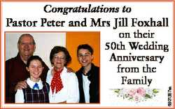Congratulations to Pastor Peter and Mrs Jill Foxhall 6801357aa on their 50th Wedding Anniversary fro...