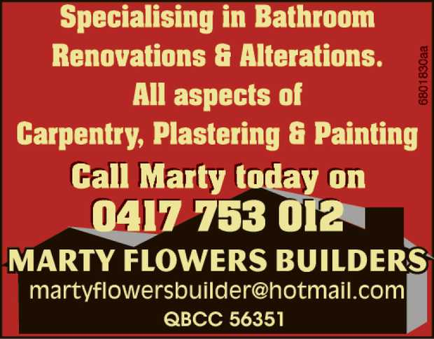 New Homes Renovations, Alterations All aspects of carpentry, plastering & Painting .