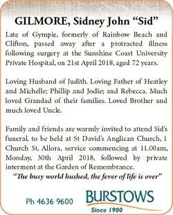 """GILMORE, Sidney John """"Sid"""" Late of Gympie, formerly of Rainbow Beach and Clifton, passed a..."""