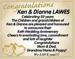 Ken & Dianne LAWES  Celebrating 50 years  The Children and grandchildren of Ken...