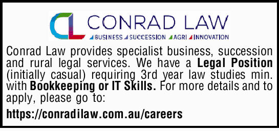 Conrad Law provides specialist business, succession and rural legal services. We have a legal pos...