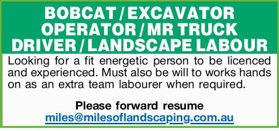 BOBCAT / EXCAVATOR OPERATOR / MR TRUCK DRIVER / LANDSCAPE LABOUR    Looking for a fit energet...