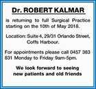 Dr. ROBERT KALMAR