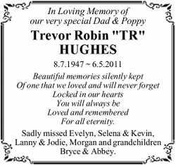 "In Loving Memory of our very special Dad & Poppy  Trevor Robin ""TR"" HUGHES..."